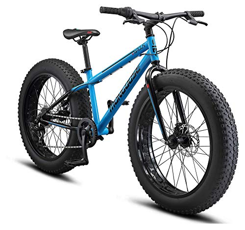 Mongoose Argus ST Youth Fat Tire Mountain Bike, 24-Inch Wheels, Mechanical Disc Brakes, 7-Speed, Blue