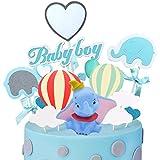 SZWL 7pcs Decoración para Tarta de Baby Shower decoración para Tarta de Elefante, decoración para Tarta de bebé,Cupcake Toppers Fuentes del Partido