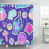 N\A Duschvorhang Bunte Süßigkeiten Regenbogen EIS Tombstone Cross Lollipop Cupcake Duschvorhänge Sets mit 12 Haken Wasserdichtes Polyestergewebe