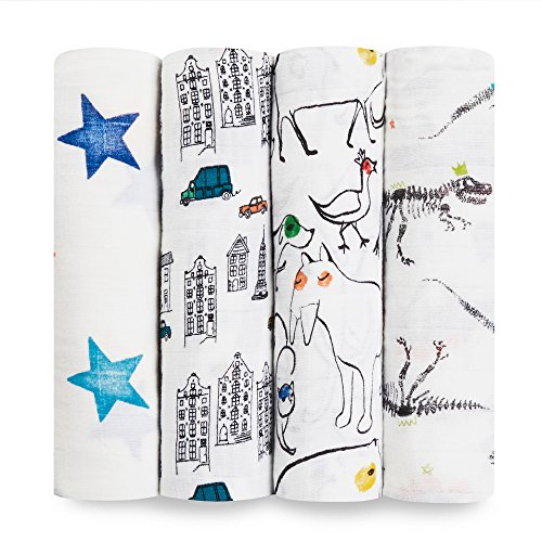 aden + anais Swaddle Blanket, Boutique Muslin Blankets for Girls & Boys, Baby Receiving Swaddles, Ideal Newborn & Infant Swaddling Set, Perfect Shower Gifts, 4 Pack, Color Pop