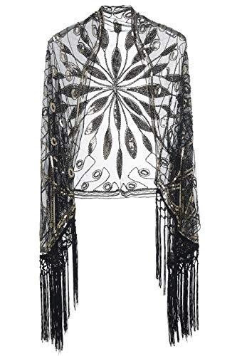 Coucoland Damen Umschlagtücher Stola für Abendkleid Retro 1920s Schal Hochzeit Braut Schal Schulter Bedeckung 20er Jahre Stil Gatsby Kostüm Accessoires (Schwarz Gold)