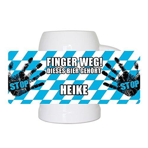 Lustiger Bierkrug mit Namen Heike und schönem Motiv Finger weg! Dieses Bier gehört Heike | Bier-Humpen | Bier-Seidel