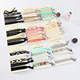 Beauty Wig World 9 Pack Elastic Ribbon Hair Ties Set 45 Pcs No Crease Ponytail Holder Hair Bands Hair Supplies Colorful Bracelet for Girl and Women Hair Accessories