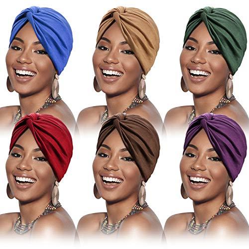 6 Pièce Turbans pour Femme Bonnet Turban Plissé Nœud Pré-Noué à la Mode Doux Bandeau Bonnet Chapeau de Sommeil (Marron Vert),M,Multicolore