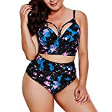 Uniarmoire Womens Plus Size High Waist Fringe Swimwear Two Piece Swimsuit