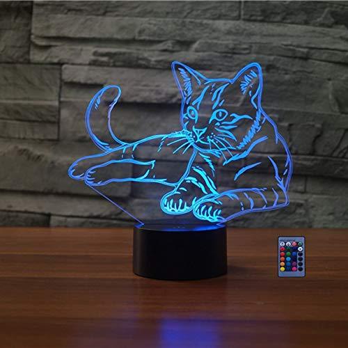 3D Katze Illusions LED Lampen 7/16 Farbwechsel Fernbedienung Berühren Nachttisch Schreibtisch-Nacht licht USB-Kabel für Kinder Schlafzimmer Geburtstagsgeschenke Geschenk