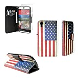 HTC Desire EYE Wallet Phone Case and Screen Protector (American Flag) | CoverON (CarryAll) Pouch Series | Tough Textured Unique Design Protective Exterior Flip Stand Cover with Credit Card Slots and Cash Pocket for HTC Desire EYE