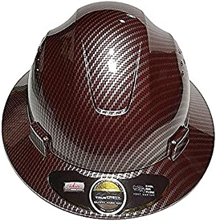 HDPE- Hydro Dipped Red/Silver {FG} Full Brim Hard Hat With Fas-Trac Suspension {Top Impact}