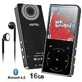 AGPTEK 16Go Haut-Parleur MP3 Bluetooth 4.0 Sonore HiFi, Ecran Couleur Lecteur de Musique en Métal Sport avec Bouton Tactile, Bouton de Volume, Podomètre, FM Radio, Slot Carte Jusqu'à 128Go-Noir