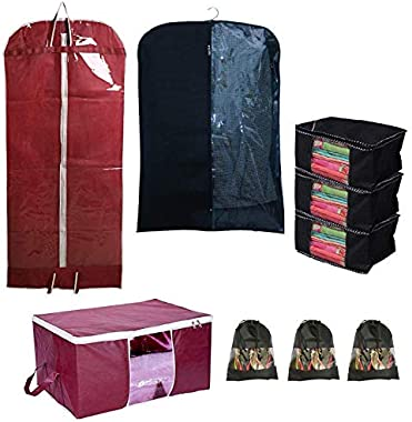 Home Decor Expert Wardrobe Storage Value Pack of Underbed Storage Bag, Saree Covers, Coat & Sherwani Cover, Shoe Covers (