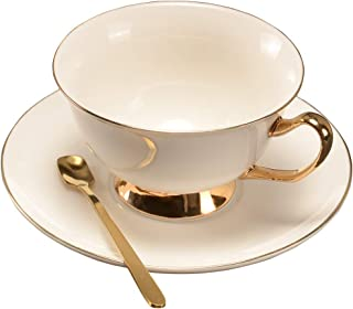 Pfedxoon Tasse à café Britannique Tasse à thé à la Mode avec Soucoupe et cuillère (225ml)