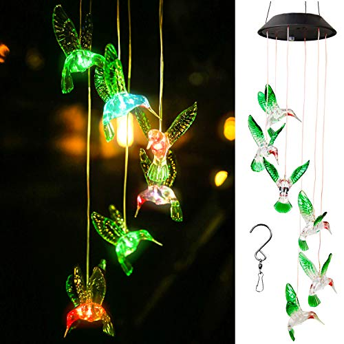 Fuera WERTIOO Solar Wind Chimes Lights Color Changing Waterproof LED String Lights Butterfly Shape Mobile Hanging Outdoor Decor for Garden Courtyard Lawn Patio Corridor Party