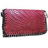 FERETI Damen Tasche Rot Geflochten Leder Handtasche Italy Bag Echt Damen Neu Schultertasche Schulter Hand Ledertasche Umhängetasche