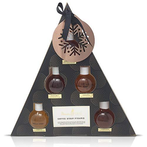 Kaffeesirup-Pyramiden-Geschenk-Set mit Baum-Verzierung - 5 Aromen, Lebkuchen, Haselnuss, Karamell, Vannilla und Zimt und Kakaopulver