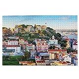 KIMDFACE Rompecabezas Puzzle 1000 Piezas,Castillo de San Jorge en Lisboa,Hotel Portugal,Puzzle Educa Inteligencia Jigsaw Puzzles para Niños Adultos