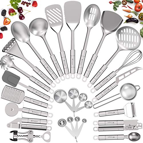 Stainless Steel Kitchen Utensil Set- Fungun 28 Pcs Cooking Utensils - Nonstick Kitchen Utensils Cookware Set with Spatula - Best Kitchen Gadgets Kitchen Tools Kitchen Accessories