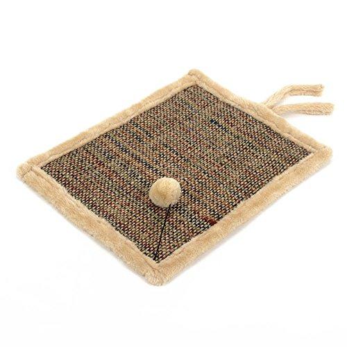 Natural Sisal Cat Scratcher Mat Anti Scratch Pad Reverse Side Soft Plush Pet Bed 17quotx13quot Khaki