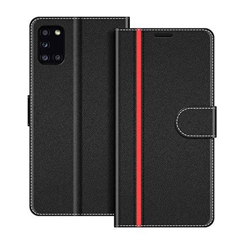 COODIO Handyhülle für Samsung Galaxy A31 Handy Hülle, Samsung Galaxy A31 Hülle Leder Handytasche für Samsung Galaxy A31 Klapphülle Tasche, Schwarz/Rot