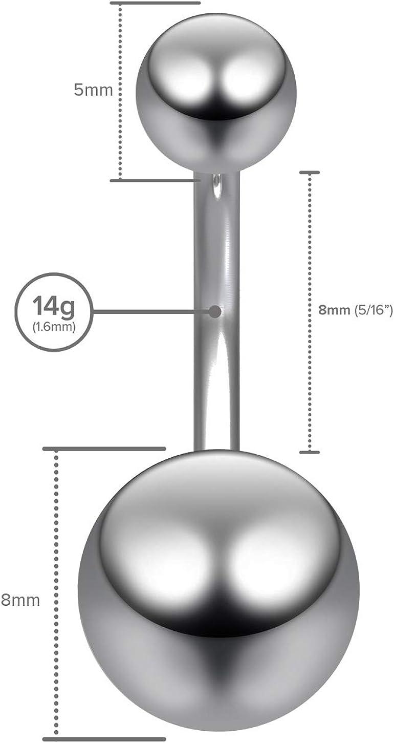 14g Titanium G23 Belly Button Rings Navel Ring Bar Stud Banana 8mm Ball Piercing Jewelry
