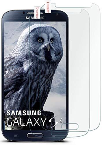 MoEx® HD Panzerglasfolie kompatibel mit Samsung Galaxy S4 | Panzerglas Kratzfest + Fast unsichtbar 9H Glas Schutzfolie, Kristall Klar 2X Stück