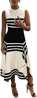 HHmei Women Stripe Sleeveless Casual Dress Women Round Neck Vestido Midi Party Dresses