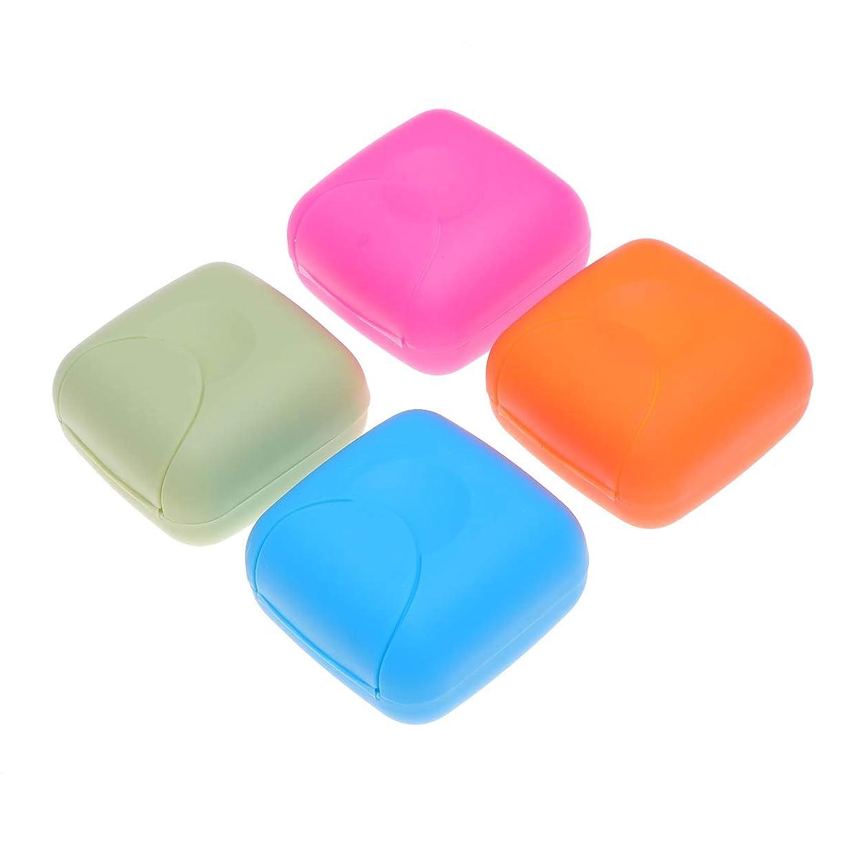 トラフフィクションアライメントHealifty ソープボックスポータブルソープディッシュソープケース4本(ブルー、ロージー、オレンジ、ピンク)