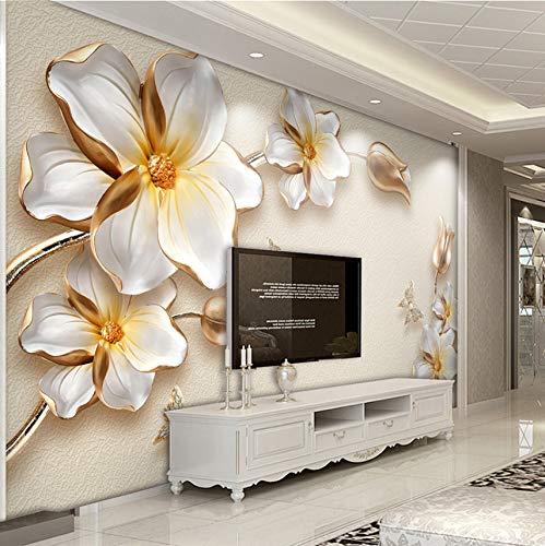 Cczxfcc Hoge kwaliteit diepte textuur Relief 3D Gouden bloemen sieraden luxe fotobehang woonkamer hotel achtergrond muur Fresko 350 cm x 245 cm.