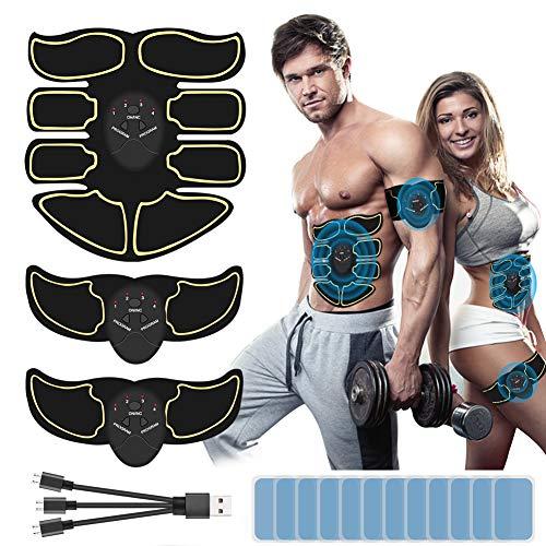 DCUKPST EMS Muskelstimulator Bauchmuskeltrainer, EMS Trainingsgerät USB Wiederaufladbarer Tragbarer Muskel Trainer mit 6 Modi & 9 Intensitäten