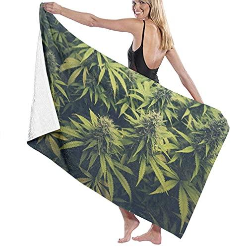 Toalla de Microfibra Secado rápido, Ligera, Absorbente, Suave y grante Yoga, Fitness, Playa, Gimnasio Hojas de Marihuana Planta de Cannabis Vegetación densa Verde de Ganja 130X80cm