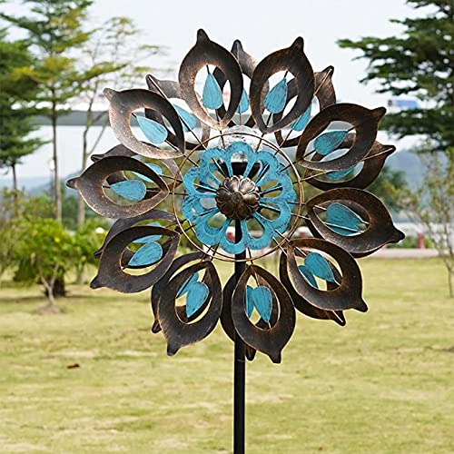 LIOYUHGTFY Unique and Magical Metal Windmill Solar Wind Spinner Solar Powered Kinetic Wind Spinner Wind Mill Multi-Colour LED Light for Patio Backyard Garden 915