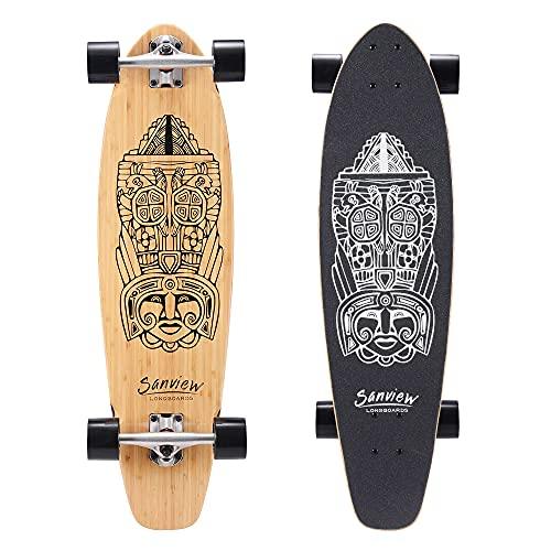 "Sanview 34"" Bamboo Longboard Skateboard Cruiser for Kids Adults Totem"
