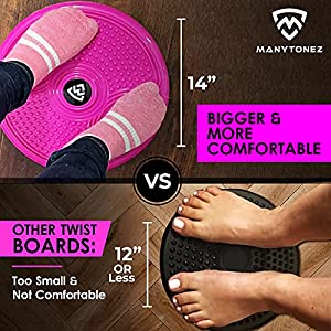 MANYTONEZ Waist Ab Trimmer Twist Board Machine - Large 14 inch Abdominal Exercise Equipment Disc with Workout Floor Mat - for Slimming Waist and Strengthening Abs Core at Home