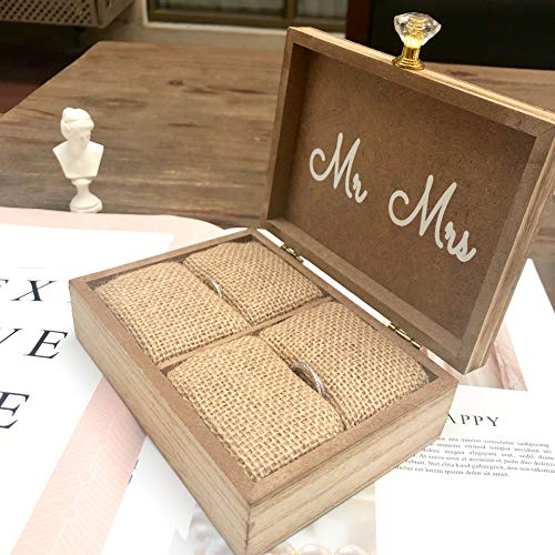 "Touch Collection ""Always & Forever"" Mr. and Mrs. Wooden Rustic Wedding Ring Box with Burlap Pillow Lining, Ring Holder, Decorative Box, Ringbearer Box, Jewelry Box - L6""xW5""xH2"""
