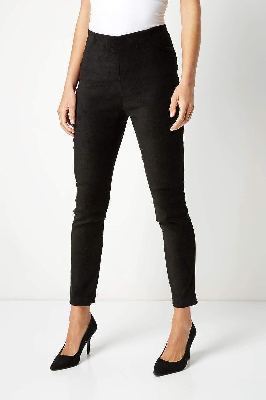 Roman Originals Pantalones largos para mujer de ante sint/ético con el/ástico para fiesta noche Pantalones de mujer elegantes e informales de ante sint/ético