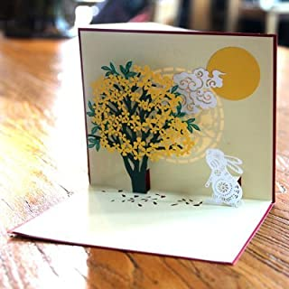 Popseen Handmade 3D Pop Up Thank You Greeting Cards With Envelopes Greeting Cards Flower (Osmanthus Tree and Moon Rabbit)