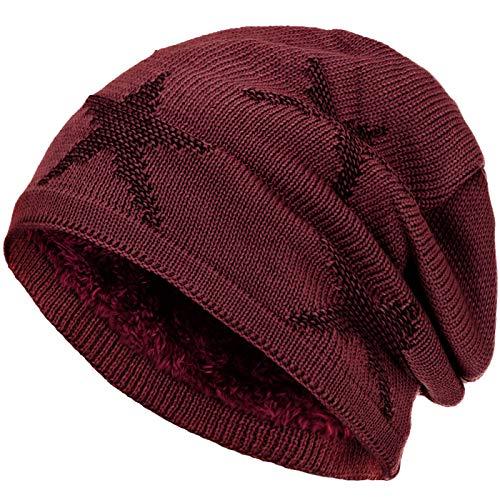 Compagno warm gefütterte Beanie Wintermütze Sternen Strickmuster mit weichem Fleece-Futter Mütze, Farbe:Dunkelrot Schwarz