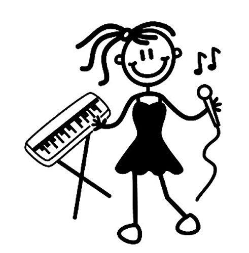 Auto Stickers ~ Sticker ~ 'Mijn Familie' ~ Ouder meisje ~ Met sleutelbos & microfoon (OG12)
