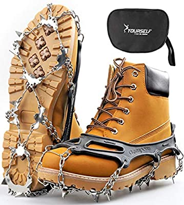 SYOURSELF Crampons Ice Cleats Snow Grips Ice Grippers Traction Anti-Slip Stainless Cleats with 24 Steel Spikes for Shoes Boots Winter Outdoor Walking Jogging Climbing Hiking Fishing Running