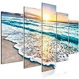 murando Quadro Mare Spiaggia 100x50 cm 5 pezzi Stampa su tela in TNT XXL Immagini moderni Murale Fotografia Grafica Decorazione da parete Tramonto Paesaggio Natura c-B-0552-b-m