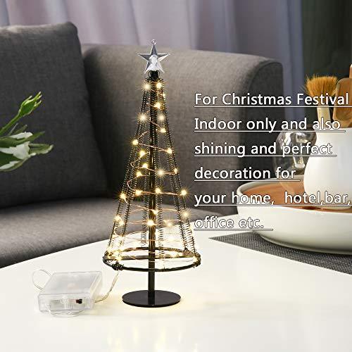 Zachte boom, kunstmatige mini zachte boom met dekselster, bomen met platte plaat en batterijhuis buiten voor binnen-, tafellamp en Nizza-decoraties voor uw kamers