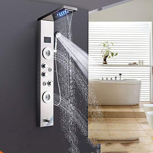 BEAURM Badezimmer Dusche Wasserhahn Massage Jets Badewanne Dusche Säule Mischbatterie LED Wasserfall Regen Duschpaneel, Nickel, China