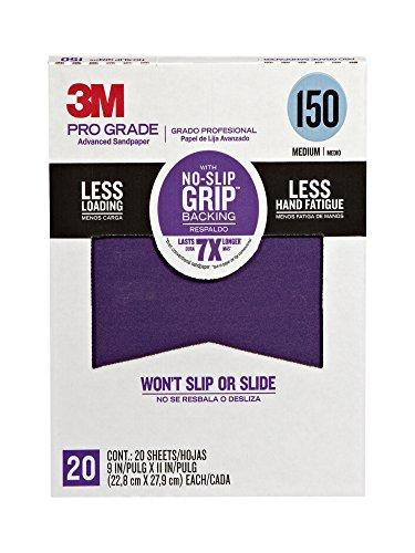 3M 26150CP-P-G Pro Grade No-Slip Grip Advanced Sandpaper, 9 x 11-Inch, 150 Grit, Pack of 20, 1.