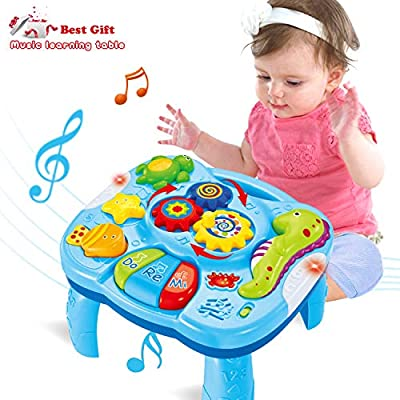 ACTRINIC Musical Learning Table Baby Toys 6 to 12 Months Early Education Music Activity Center is described but on the box it says 18m + from ACTRINIC