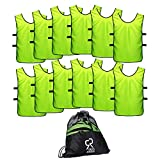 SportsRepublik Pinnies Scrimmage Vests for Kids, Youth and Adults (12-Pack) - Soccer Pennies Neon Yellow