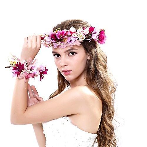 Ever Fairy 2pc/set Flower Wreath Garland Headband and Wrist for Wedding Festivals, Purple, One Size