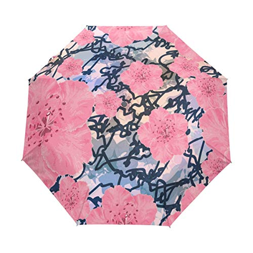 Rode paraplu vintage bloemen Sakura Cherry Auto Open Close zon Rain Umbrella