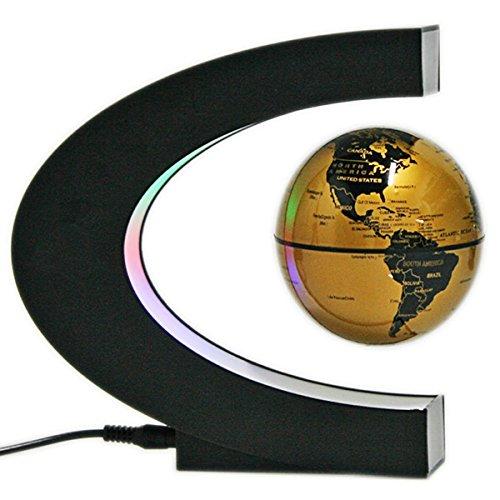 Koiiko Globe 360gradi mappamondo magnetico galleggiante rotante globo mappa del mondo con LED, multicolore, ideale per apprendimento, insegnamento, da casa, scrivania, decorazione regalo