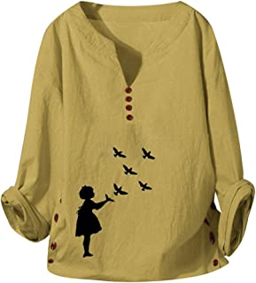 Women's Linen Blouse Tunic Casual Loose T-Shirts V-Neck Linen Tops with Buttons
