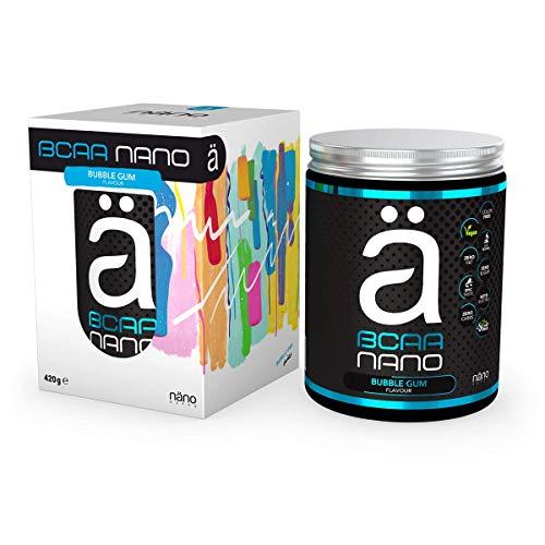 Nanosupps NANO BCAA Pulver - Hochdosiert Essentielle Aminosäuren-Komplex - Sensationeller Geschmack & Löslichkeit - Leucin, Valin, Isoleucin - BCAA Drink ZUCKERFREI - Vegan & Stevia gesüßt - Bubblegum
