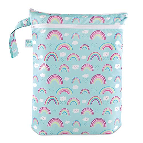 Bumkins Waterproof Wet Bag/Dry Bag, Washable, Reusable for Travel, Beach, Pool, Stroller, Diapers, Dirty Gym Clothes, Wet Swimsuits, Toiletries, 12.5 x 14 – Rainbows